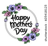 happy mothers day card with... | Shutterstock .eps vector #605418125