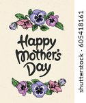 happy mothers day card with... | Shutterstock .eps vector #605418161