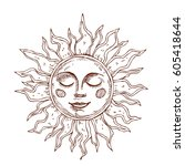 hand drawn sun with face... | Shutterstock .eps vector #605418644