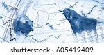 bull  bear  charts and stock... | Shutterstock . vector #605419409