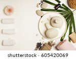 spa setting. top view | Shutterstock . vector #605420069