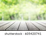 empty wooden table with party... | Shutterstock . vector #605420741