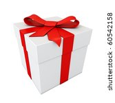 Gift With Red Ribbon Isolated...