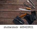 leather handbag. work place... | Shutterstock . vector #605423921