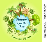 earth day. eco friendly ecology ... | Shutterstock .eps vector #605425409