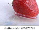 close up of strawberry frozen... | Shutterstock . vector #605425745
