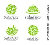 vector logo template. salad bar | Shutterstock .eps vector #605426021