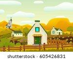 horizontal spring village...   Shutterstock .eps vector #605426831