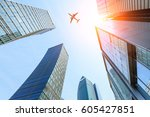 business district with modern... | Shutterstock . vector #605427851