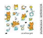 Stock vector cat and mouse game little ginger cat and funny blue mice play with toy balls set of cute animal 605430134