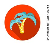 palm tree vector icon. beach.... | Shutterstock .eps vector #605430755