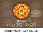 traditional italian food  ... | Shutterstock .eps vector #605432837