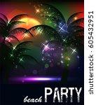 summer beach party flyer | Shutterstock .eps vector #605432951
