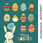 happy easter set. painted eggs... | Shutterstock .eps vector #605438447