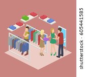 shopping in clothes store.... | Shutterstock . vector #605441585