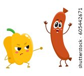 funny food characters  pepper... | Shutterstock .eps vector #605442671