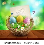 vector easter background with... | Shutterstock .eps vector #605443151