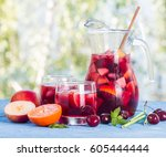 refreshing sangria or punch... | Shutterstock . vector #605444444