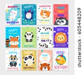 set of cute animals poster.... | Shutterstock .eps vector #605448209