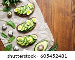 sandwiches with guacamole ... | Shutterstock . vector #605452481