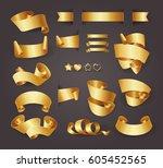set of premium golden ribbons... | Shutterstock .eps vector #605452565