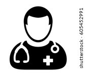 doctor icon   physician person... | Shutterstock .eps vector #605452991
