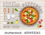 traditional italian food  ... | Shutterstock .eps vector #605453261