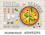 traditional italian food  ... | Shutterstock .eps vector #605453291