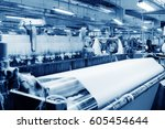 weaving machine produce white... | Shutterstock . vector #605454644