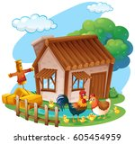 chickens on the farm... | Shutterstock .eps vector #605454959