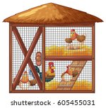 chickens in chicken coop... | Shutterstock .eps vector #605455031