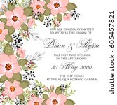 floral wedding invitation... | Shutterstock .eps vector #605457821