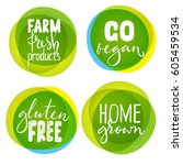 set of four healthy food labels ... | Shutterstock .eps vector #605459534