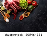 freshly prepared octopus with... | Shutterstock . vector #605464331
