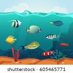 underwater colorful fishes at... | Shutterstock .eps vector #605465771