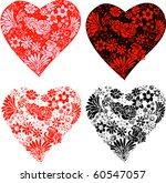 Raster version Set of Flowers Made into 4 Stylized Hearts. - stock photo