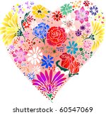 Raster version Flowers Made into a Heart. - stock photo