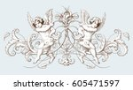vintage decorative element... | Shutterstock .eps vector #605471597