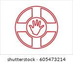 lifebuoy  icon  vector... | Shutterstock .eps vector #605473214