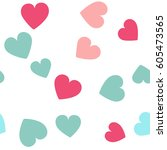 seamless hearts pattern with... | Shutterstock .eps vector #605473565