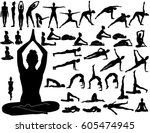 silhouettes of woman doing yoga ... | Shutterstock .eps vector #605474945