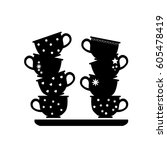 kitchen icon of cup on the... | Shutterstock .eps vector #605478419