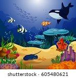 shoaling and schooling ocean... | Shutterstock .eps vector #605480621