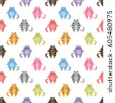 seamless pattern with colorful... | Shutterstock .eps vector #605480975
