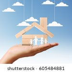 mortgage concept by house from... | Shutterstock . vector #605484881
