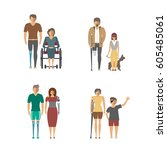 disabled people isolated set in ... | Shutterstock .eps vector #605485061