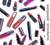 lipsticks seamless pattern.... | Shutterstock .eps vector #605490344