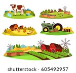 set of isolated farms at... | Shutterstock .eps vector #605492957