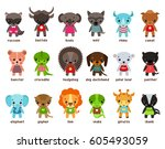 cartoon baby animals. racoon... | Shutterstock .eps vector #605493059