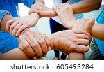 hands were a collaboration...   Shutterstock . vector #605493284